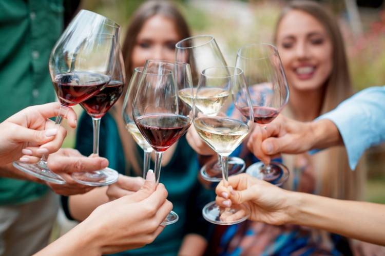A group of friends sip wine together