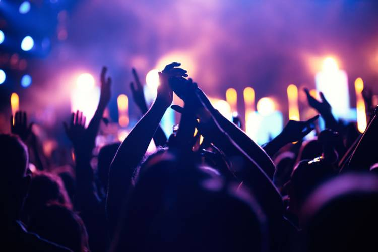 Festival-goers jam out to live music