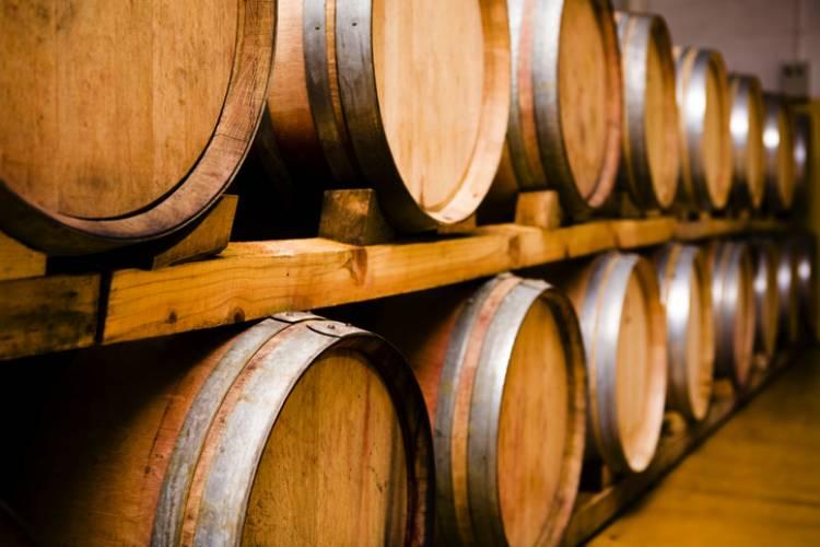 A row of wine caskets