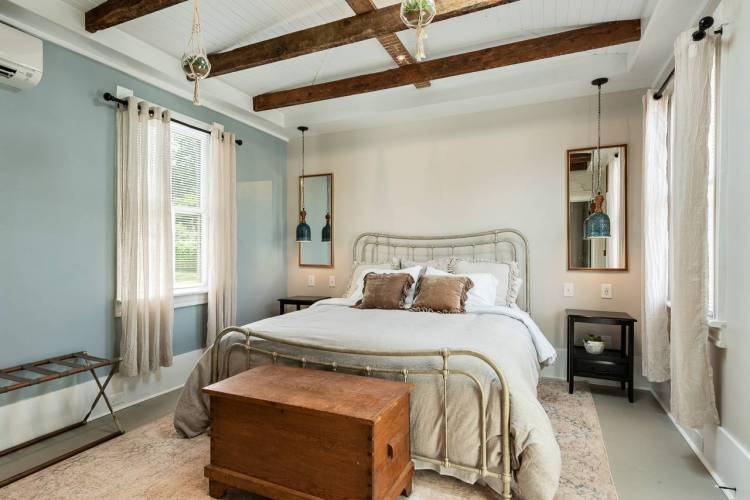 A bedroom in a Charlottesville vacation rental