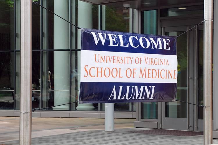 Banner welcoming UVA Med School alumni to reunion in Charlottesville, VA