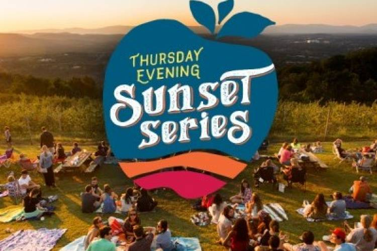 Carter Mountain hosts their sunset series each Thursday in Charlottesville, Virginia near Monticello