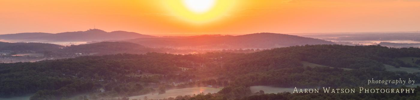 Stunning Charlottesville sunset over the Blue Ridge Mountains