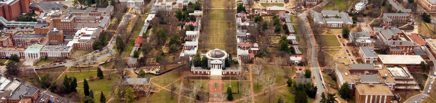 Stunning overhead view of UVa's lawn and grounds with Thomas Jefferson's Rotunda near Guesthouses properties