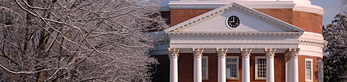 Thomas Jefferson's Rotunda during the winter at UVa in Charlottesville, VA